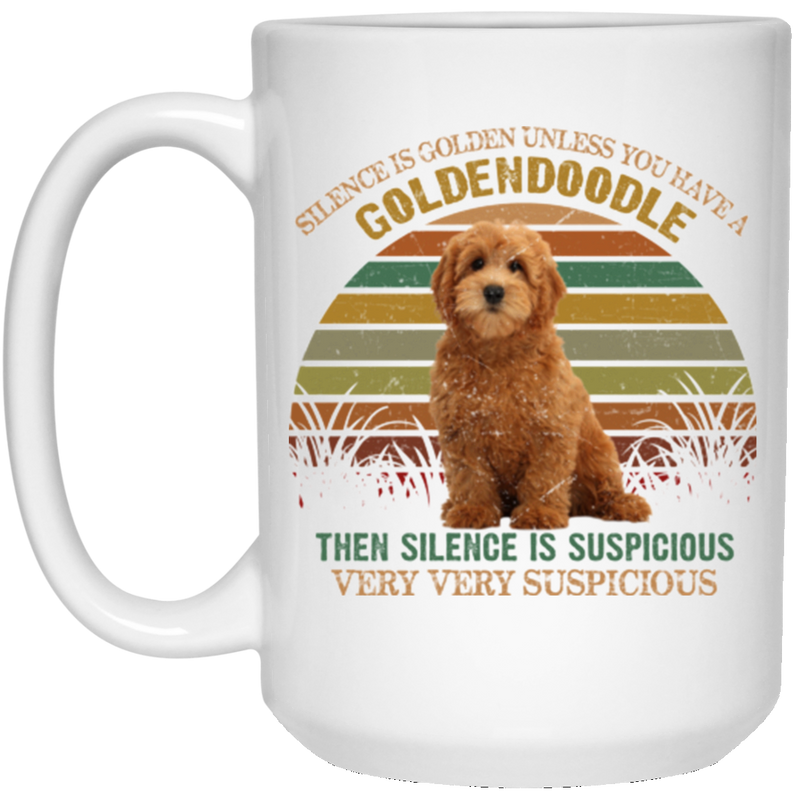 THE SILENCE IS GOLDEN GOLDENDOODLE 15 oz. White Mug