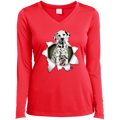DALMATIAN 3D Ladies' LS Performance V-Neck T-Shirt