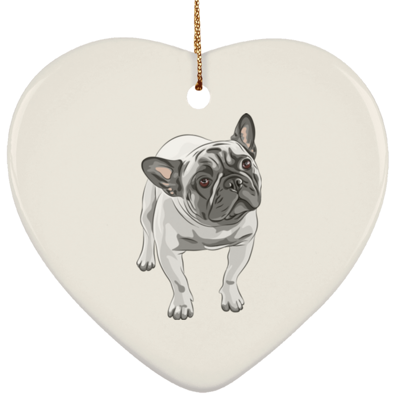 FUNNY ENGLISH BULLDOG Ceramic Heart Ornament