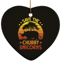 SAVE THE CHUBBY UNICORNS Ceramic Heart Ornament