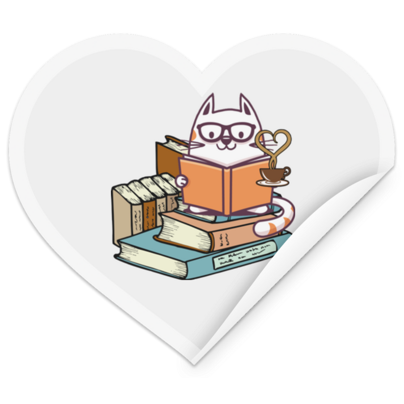KITTENS TEA AND BOOKS Heart Sticker