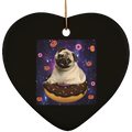 SPACE PUG RIDING DONUTS Ceramic Heart Ornament