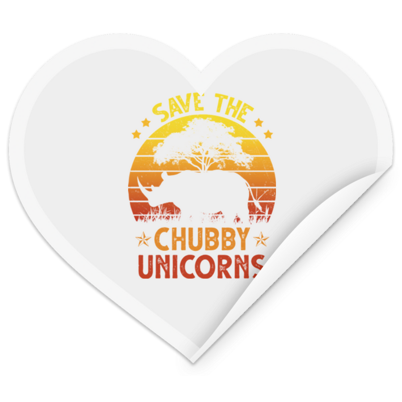 SAVE THE CHUBBY UNICORN Heart Sticker