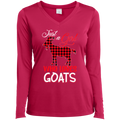 JUST A GIRL WHO LOVES GOATS Ladies' LS Performance V-Neck T-Shirt