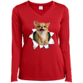 CHIHUAHUA 3D Ladies' LS Performance V-Neck T-Shirt