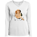 LABRADOR RETRIEVER 3D Ladies' LS Performance V-Neck T-Shirt