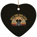 BEST DOG DAD EVER Ceramic Heart Ornament