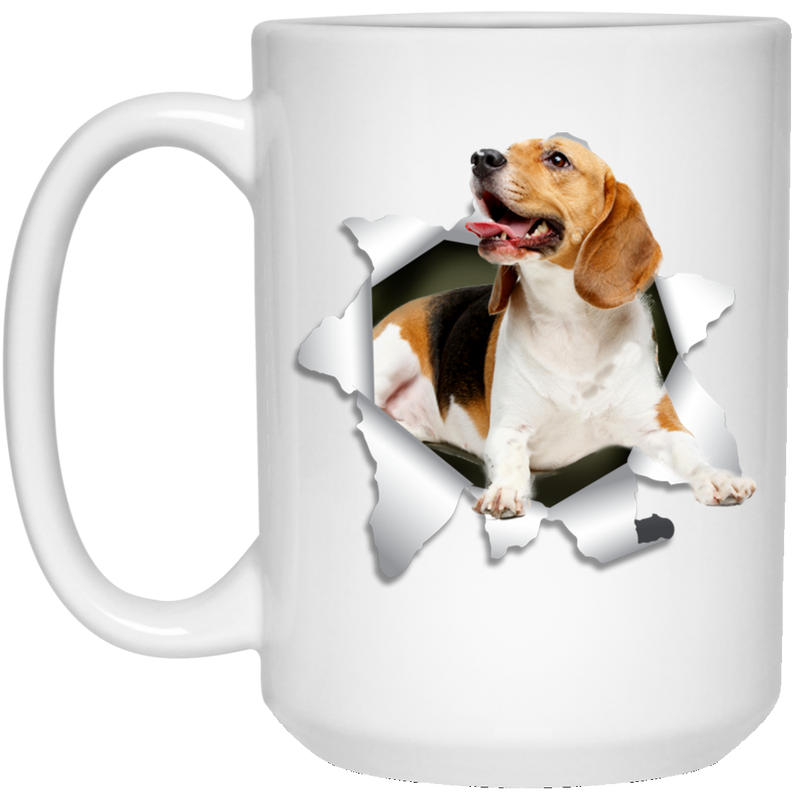 BEAGLE 3D 15 oz. White Mug