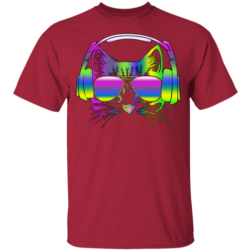RAINBOW MUSIC CAT Youth 5.3 oz 100% Cotton T-Shirt