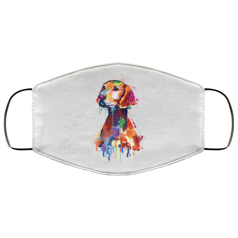Hand painted vizsla human Face Mask