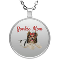 YORKIE MOM Circle Necklace