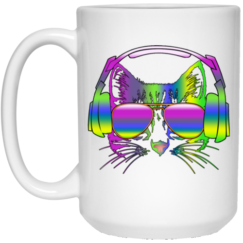 RAINBOW MUSIC CAT 15 oz. White Mug