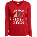 PET ALL THE DOGS Ladies' LS Performance V-Neck T-Shirt