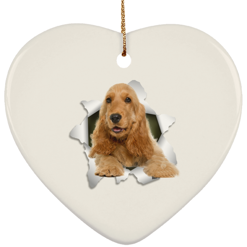 ENGLISH COCKER 3D Ceramic Heart Ornament