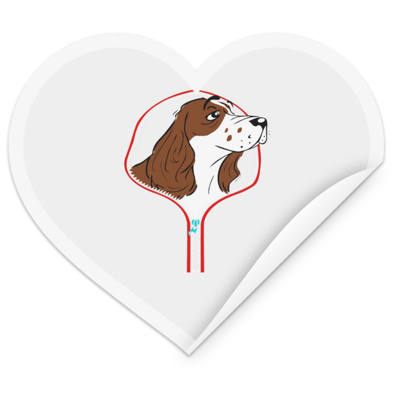 COCKER SPANIEL ZIP-DOWN Heart Sticker