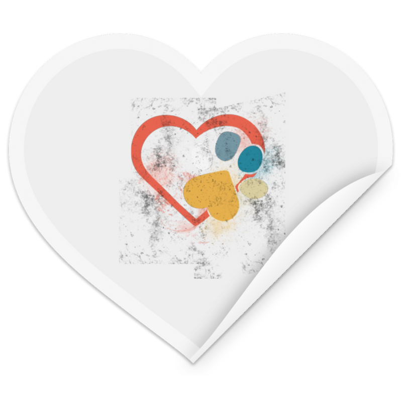 RETRO LOVE HEART PAW PRINT Heart Sticker