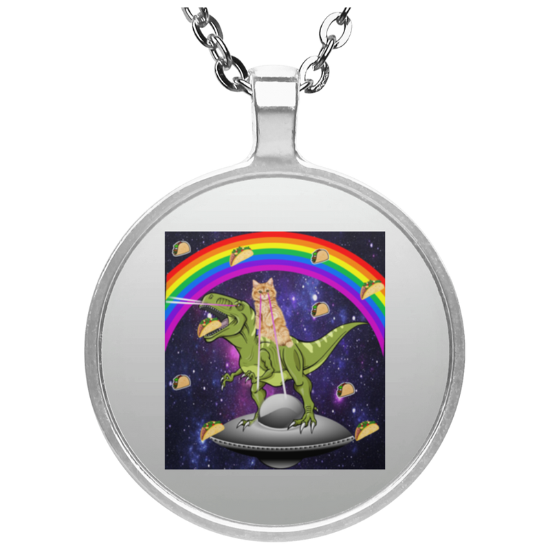 TACO KITTY RAINBOW RIDING T-REX LASER EYED Circle Necklace