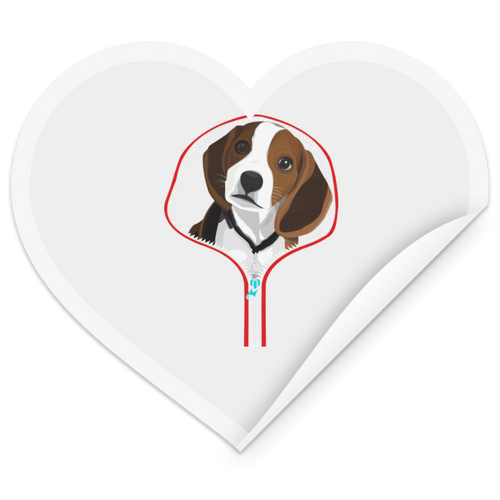 BEAGLE ZIP-DOWN Heart Sticker