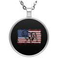 VINTAGE ENGLISH BULLDOG AMERICA Circle Necklace