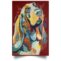 HAND PAINTED BASSETHOUND Satin Portrait Poster