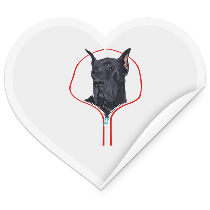 GREAT DANE ZIP-DOWN Heart Sticker