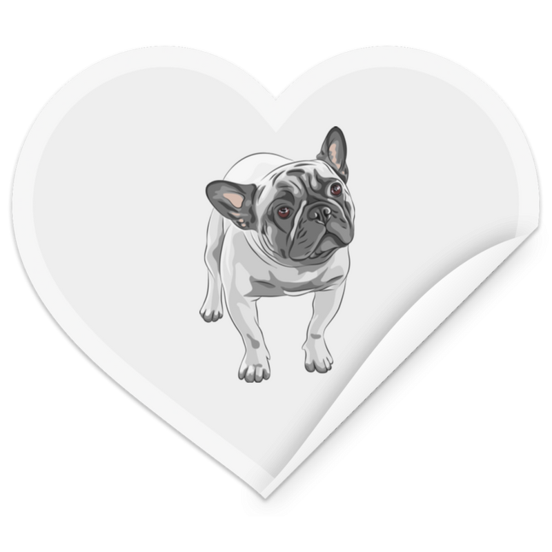 FUNNY ENGLISH BULLDOG Heart Sticker