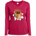 GERMAN SPITZ KLEIN 3D Ladies' LS Performance V-Neck T-Shirt