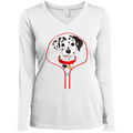 DALMATIAN ZIP-DOWN Ladies' LS Performance V-Neck T-Shirt