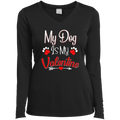 MY DOG IS MY VALENTINE Ladies' LS Performance V-Neck T-Shirt