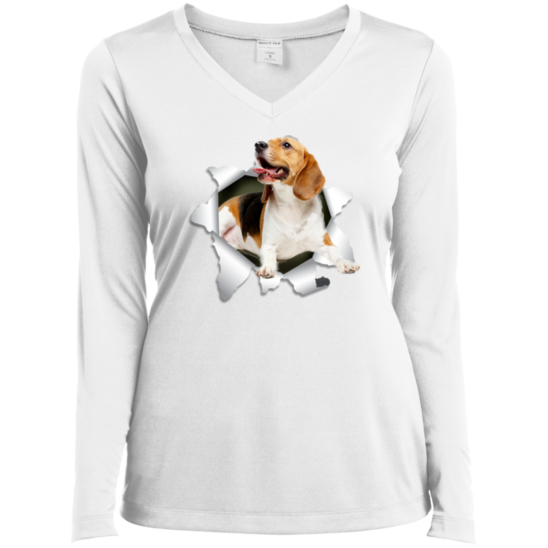 BEAGLE 3D Ladies' LS Performance V-Neck T-Shirt