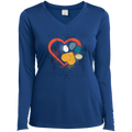 LOVE HEART PAW PRINT Ladies' LS Performance V-Neck T-Shirt
