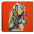Hand painted Bassethound Square Canvas .75in Frame