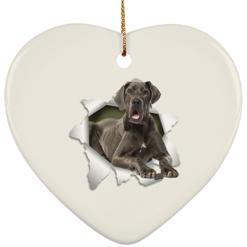 GREAT DANE 3D Ceramic Heart Ornament