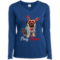 PUG MOM Ladies' LS Performance V-Neck T-Shirt