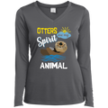 OTTERS ARE MY SPIRIT ANIMAL Ladies' LS Performance V-Neck T-Shirt