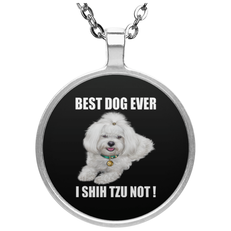 BEST DOG DAD EVER Circle Necklace