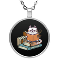 CATS TEA AND BOOKS Circle Necklace