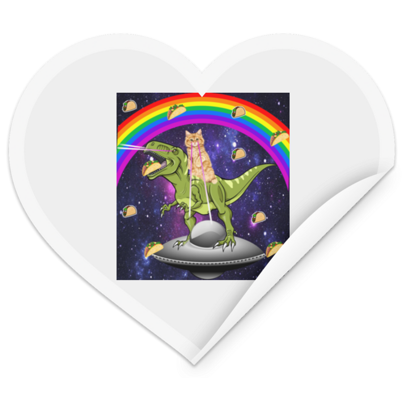 TACO KITTY RAINBOW RIDING T-REX LASER EYED Heart Sticker