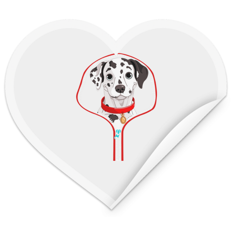 DALMATIAN ZIP-DOWN Heart Sticker