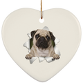 PUG 3D Ceramic Heart Ornament