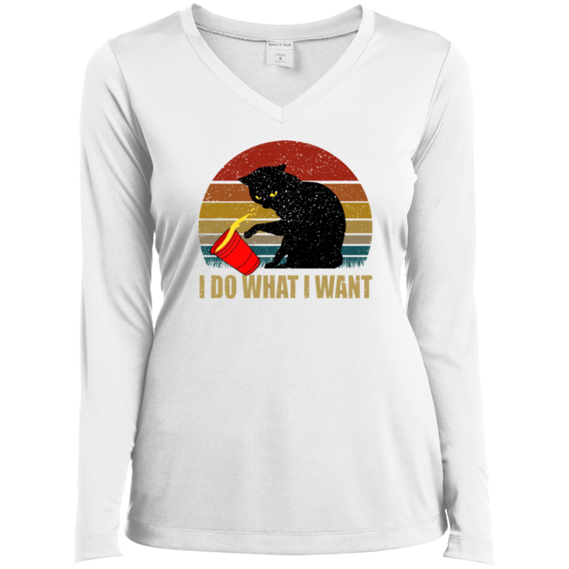 I DO WHAT I WANT Ladies' LS Performance V-Neck T-Shirt