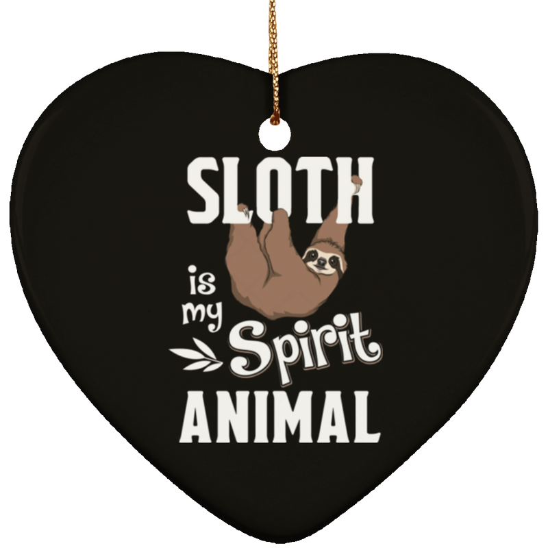 SLOTH IS MY SPIRIT ANIMAL Ceramic Heart Ornament