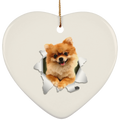 POMERANIAN 3D Ceramic Heart Ornament