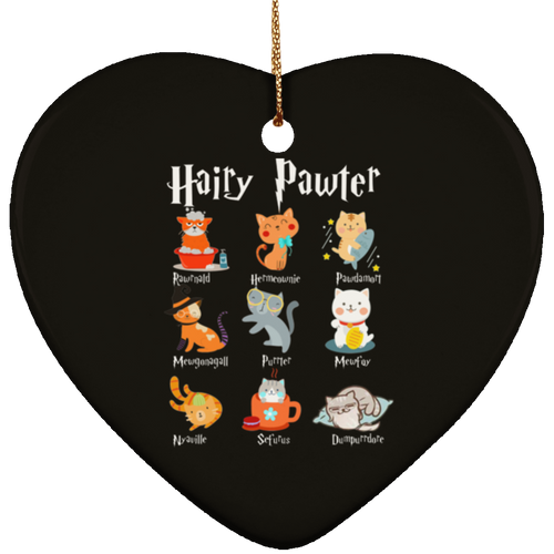 HAIRY PAWTER Ceramic Heart Ornament
