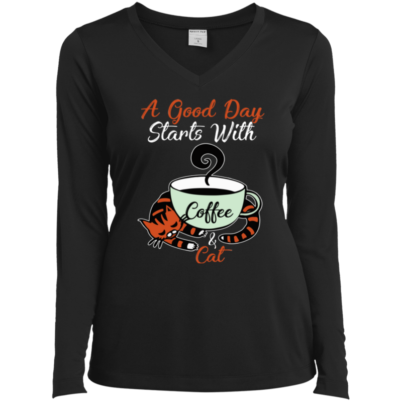 A GOOD DAY STARTS WITH COFFEE Ladies' LS Performance V-Neck T-Shirt