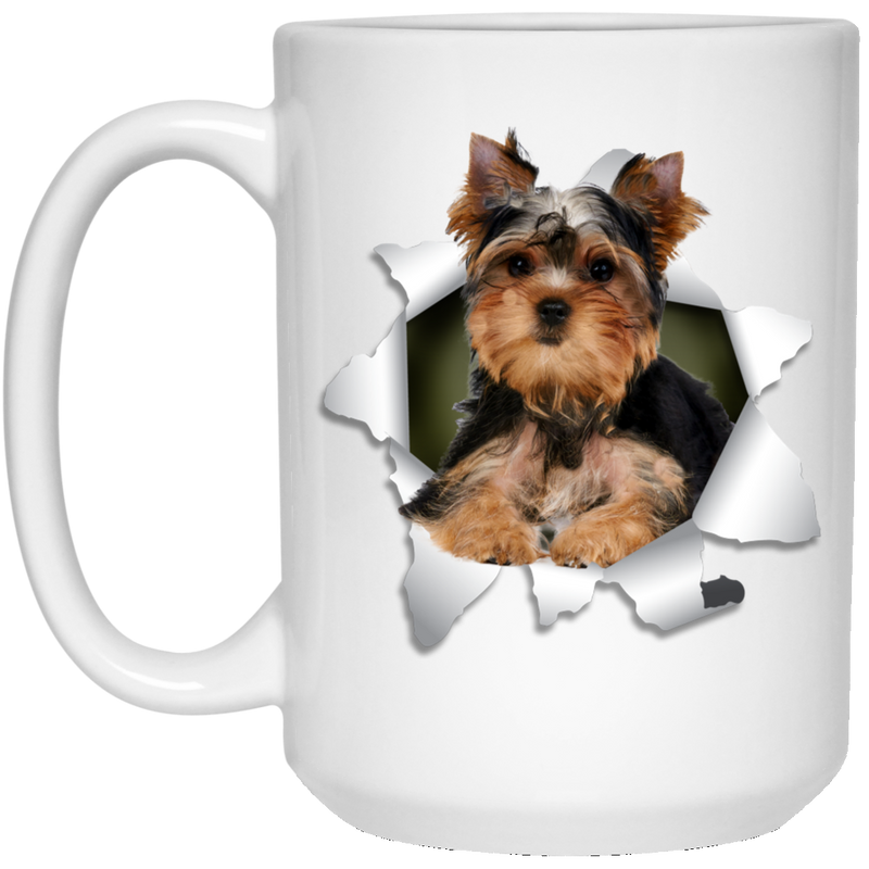 YORKSHIRE TERRIER 3D 15 oz. White Mug