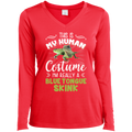THIS IS MY HUMAN COSTUME Ladies' LS Performance V-Neck T-Shirt