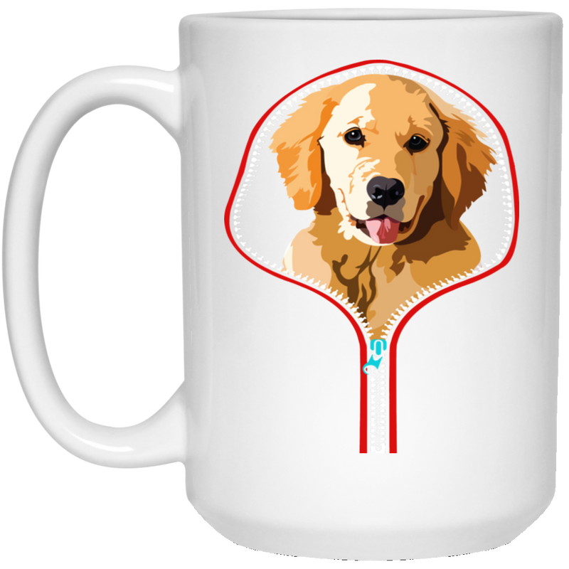 GOLDEN RETRIEVER ZIP-DOWN 15 oz. White Mug