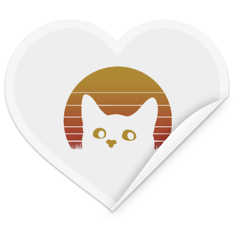 VINTAGE EIGHTIES STYLE CAT Heart Sticker