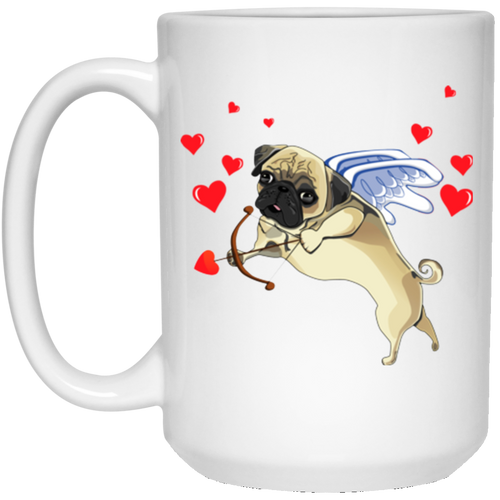 PUG CUPID 15 oz. White Mug
